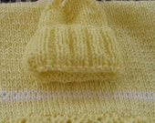 Knitted doll or premie hat and blanket set/yellow premie hat and blanket/yellow doll blanket and hat/small yellow baby blanket/knit blanket