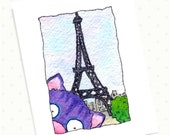 Cat on European Vacation blank card - Benjamin's World Tour - Paris and the Eiffel Tower