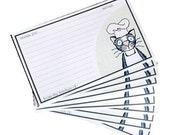 The Reluctant Chef  - set of 10 small Art Recipe Cards - ON SALE
