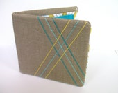 Plaid Wallet - Free-stitch embroidered on Natural Linen