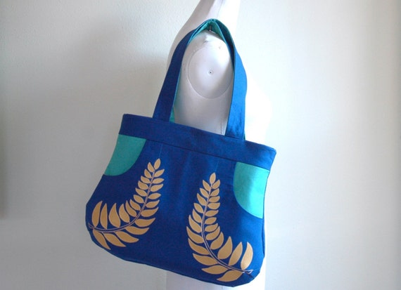 Laureate Handbag in Blue and Teal with Gold Leaves