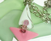 Glass Sailboat Pink and White Sail, Tourmaline Gemstones and Antique Sandwich Glass