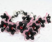 Pink Black and Silver Orchids Bracelet