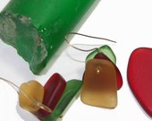 Glass Earrings in Primary Colors, Antique Sandwich Glass Earrings