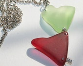 Heart Necklace Natural Antique Sandwich Glass