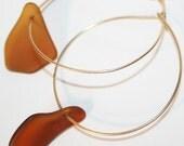 Hoop Earrings Gold and Rootbeer Glass