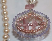 Tanzanite, Pearls and Sandwich Glass Necklace