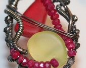 Ship Wreck Pendant Red and Yellow Antique Sandwich Glass Pendant with Rubies