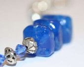 Fiery Volcanic Blue Antique Sandwich Glass and Silver Bracelet