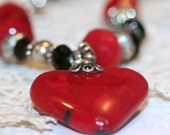 Red Valentine Heart Antique Sandwich Glass Necklace One of a Kind and Rare Heart Pendant