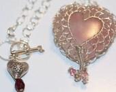 Pink Quartz Heart Valentine Necklace set in Romantic Sterling Needle Lace