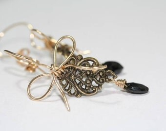 Gold Bow Earrings with Black Spinel Gemstones, Black Tie Earrings
