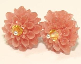Peach Mum Earrings Studs Floral Earrings Garden Earrings