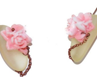 New Spring Earrings with Yellow Antique Sandwich Glass and Pink Roses