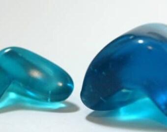 Loose Beach Glass, Rare Glass, Blue Glass, Chevron Glass Nuggets, Tumbled Glass, Ocean Colors, Seaside Glass