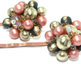 Beaded Copper Hair Pins Earth Colors Vintage Recycled Earrings