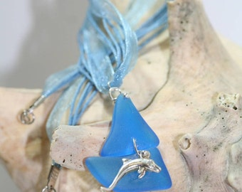 Blue Vintage Pairpoint Glass Sailboat and Dolphin Pendant Necklace