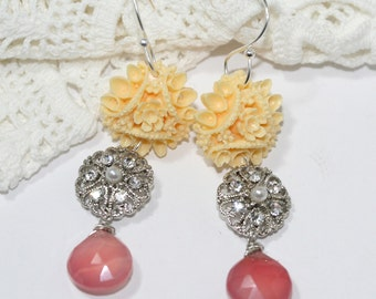 Earrings Long Victorian Shabbby Chic Creamy White Flowers and Rhinestones Cornelian