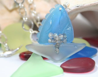 Pairpoint Glass Sailboat with Labradorite Gemstones,  Antique Sandwich Glass and Sterling Whale