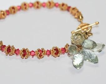 Bracelet Elegant Green Amethyst Marquise Padparadascha Swarovski Crystals