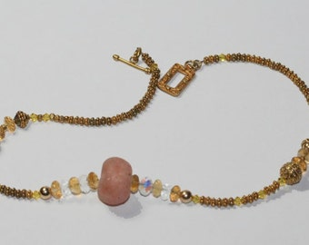 Choker Necklace Citrine and Gold Vermeil Sparkly