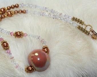 Choker Necklace Tourmaline Gemstones Copper Pearls