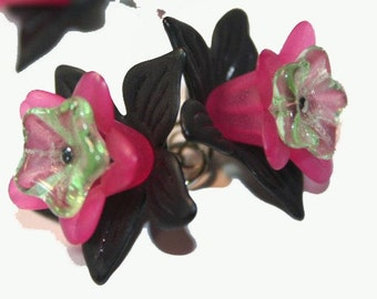 Cluster Earrings Short and Swingy Triple Orchard Flower  Dangles