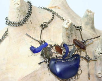 Cobalt Blue Glass, Wire Wrap, Nautical Necklace, Sandwich Glass, Ship Wreck Necklace