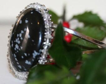 Snowflake Obsidian Cuff Spring Bracelet