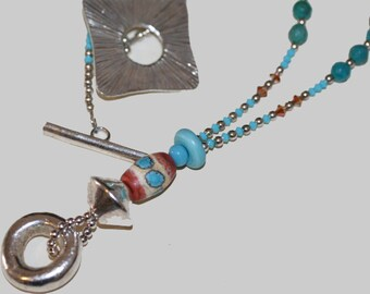 Southwest Lampwork Turquoise Terracotta and Silver Necklace