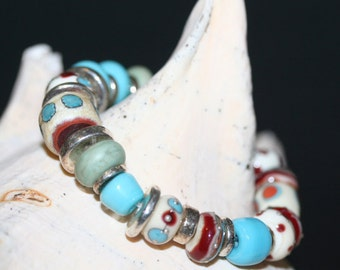 Southwest Lampwork Turquoise and Silver Bracelet
