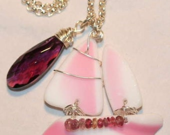 Antique Sandwich Glass Creamy White and Pink Tall Ship and Gemstone Necklace