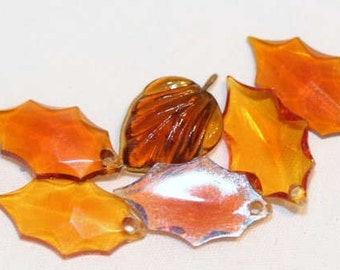Butterscotch Quartz Leaves, Vintage Gold and Green Leaves, Fall Beads, Bead Supplies