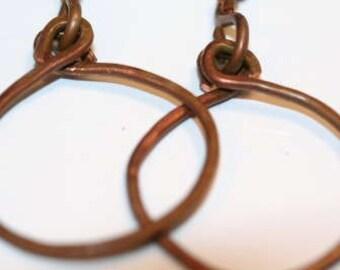 Big Copper Hammered Industrial Hoop Earrings