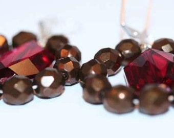Chocolate Brown and Raspberry Swarovski Hoop Earrings