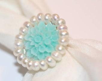 Adjustable Ring, Sweet Blue Vintage Chrysanthemum with White Pearls