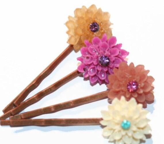 Hair Pins Set of 4 Colorful Bobby Pins