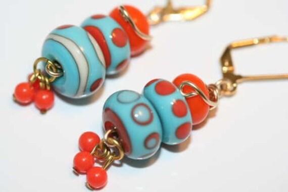 Southwest Design Adobe Colors Polka Dot Lampwork Bead Earrings
