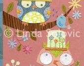 Izzie and Lizzie the Owls Print 8.5 x 11