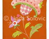 Tiki Torch Folk Flower Print 8.5 x 11