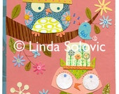 Lizzy and Izzy the Owls Original Collage