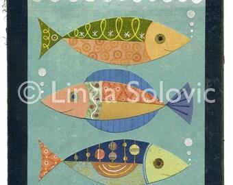 Midcentury Home Fish Aquarium Print 8.5 x 11