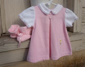 Pink Baby Dress and crocheted booties
