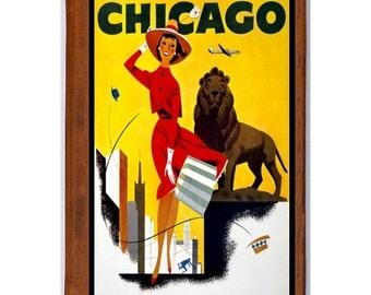 Handmade Leather Journal / Sketchbook - CHICAGO 2- Travel Art