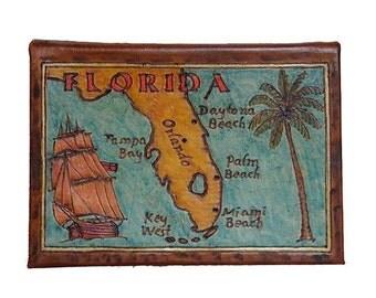 FLORIDA - Leather Travel Photo Album - Handmade