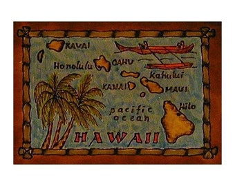 HAWAII - Leather Travel Scrapbook / Journal - Handmade
