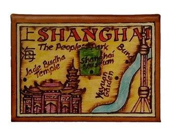 SHANGHAI - Leather Travel Journal / Sketchbook - Handmade