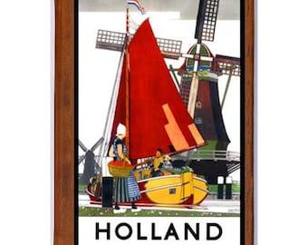 HOLLAND 1- Handmade Leather Journal / Sketchbook - Travel Art