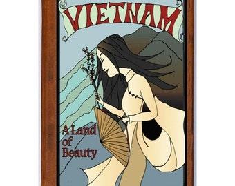 VIETNAM 1- Handmade Leather Journal / Sketchbook - Travel Art