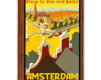 AMSTERDAM 1- Handmade Leather Journal / Sketchbook - Travel Art